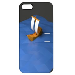 Low Poly Boat Ship Sea Beach Blue Apple iPhone 5 Hardshell Case with Stand