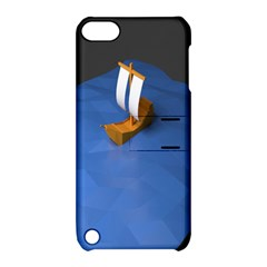 Low Poly Boat Ship Sea Beach Blue Apple iPod Touch 5 Hardshell Case with Stand