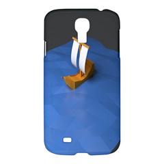 Low Poly Boat Ship Sea Beach Blue Samsung Galaxy S4 I9500/I9505 Hardshell Case