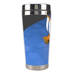 Low Poly Boat Ship Sea Beach Blue Stainless Steel Travel Tumblers