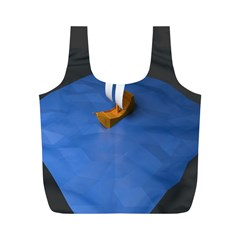 Low Poly Boat Ship Sea Beach Blue Full Print Recycle Bags (M)
