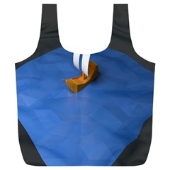 Low Poly Boat Ship Sea Beach Blue Full Print Recycle Bags (L)