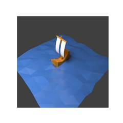 Low Poly Boat Ship Sea Beach Blue Small Satin Scarf (Square)