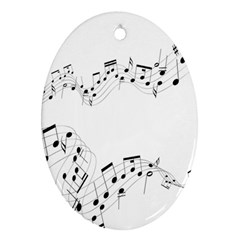 Music Note Song Black White Ornament (Oval)