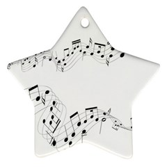Music Note Song Black White Ornament (Star)