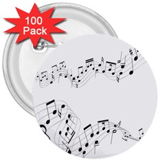 Music Note Song Black White 3  Buttons (100 Pack)