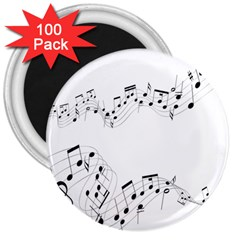 Music Note Song Black White 3  Magnets (100 pack)