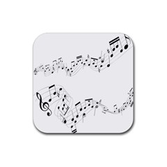 Music Note Song Black White Rubber Coaster (Square)
