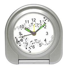 Music Note Song Black White Travel Alarm Clocks