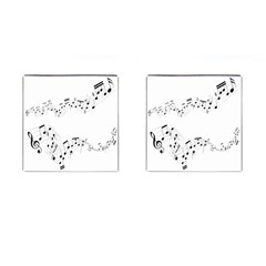 Music Note Song Black White Cufflinks (square)