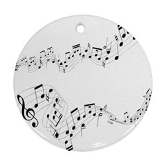Music Note Song Black White Round Ornament (Two Sides)