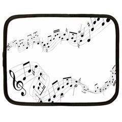 Music Note Song Black White Netbook Case (Large)