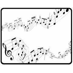 Music Note Song Black White Fleece Blanket (Medium)
