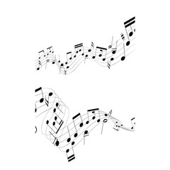 Music Note Song Black White Shower Curtain 48  x 72  (Small)