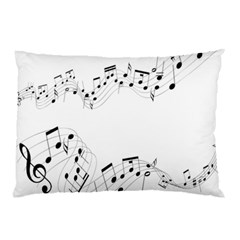 Music Note Song Black White Pillow Case (Two Sides)