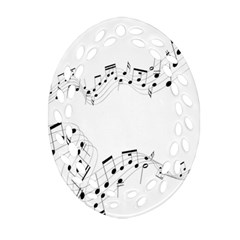 Music Note Song Black White Oval Filigree Ornament (Two Sides)