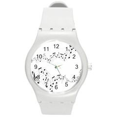 Music Note Song Black White Round Plastic Sport Watch (M)