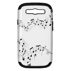 Music Note Song Black White Samsung Galaxy S Iii Hardshell Case (pc+silicone)