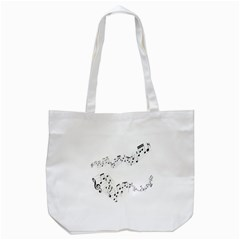 Music Note Song Black White Tote Bag (White)