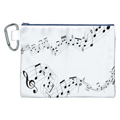 Music Note Song Black White Canvas Cosmetic Bag (XXL)