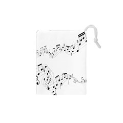 Music Note Song Black White Drawstring Pouches (xs)