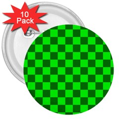 Plaid Flag Green 3  Buttons (10 pack)