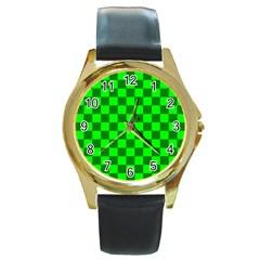 Plaid Flag Green Round Gold Metal Watch