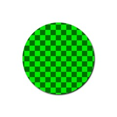 Plaid Flag Green Rubber Round Coaster (4 pack)