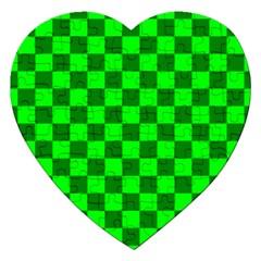 Plaid Flag Green Jigsaw Puzzle (Heart)
