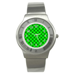 Plaid Flag Green Stainless Steel Watch