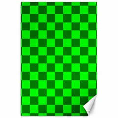 Plaid Flag Green Canvas 24  x 36