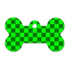 Plaid Flag Green Dog Tag Bone (Two Sides)