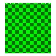 Plaid Flag Green Shower Curtain 66  X 72  (large)