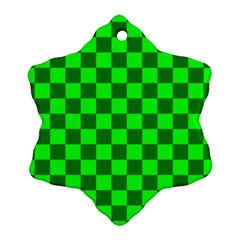 Plaid Flag Green Ornament (Snowflake)