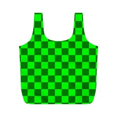Plaid Flag Green Full Print Recycle Bags (M)