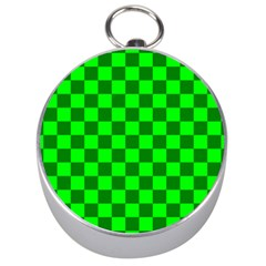 Plaid Flag Green Silver Compasses