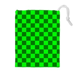 Plaid Flag Green Drawstring Pouches (extra Large)
