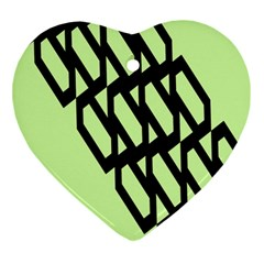 Polygon Abstract Shape Black Green Ornament (Heart)