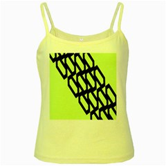 Polygon Abstract Shape Black Green Yellow Spaghetti Tank