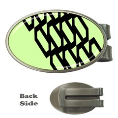 Polygon Abstract Shape Black Green Money Clips (Oval)