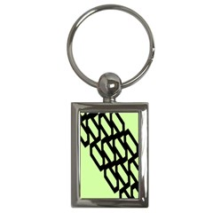 Polygon Abstract Shape Black Green Key Chains (Rectangle)