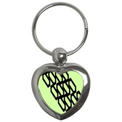 Polygon Abstract Shape Black Green Key Chains (Heart)
