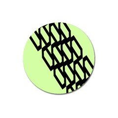 Polygon Abstract Shape Black Green Magnet 3  (round)