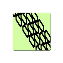 Polygon Abstract Shape Black Green Square Magnet