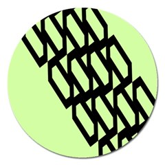 Polygon Abstract Shape Black Green Magnet 5  (round)