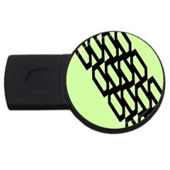 Polygon Abstract Shape Black Green USB Flash Drive Round (1 GB)