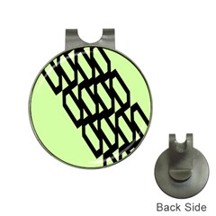 Polygon Abstract Shape Black Green Hat Clips with Golf Markers