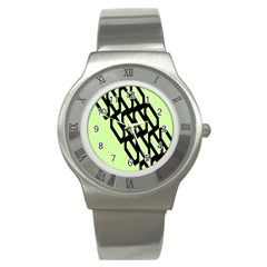 Polygon Abstract Shape Black Green Stainless Steel Watch
