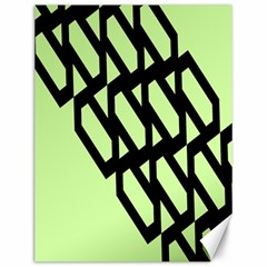Polygon Abstract Shape Black Green Canvas 12  x 16