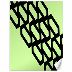 Polygon Abstract Shape Black Green Canvas 36  x 48